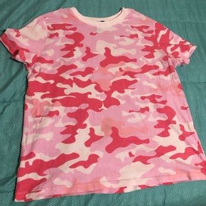 Pink and white camo T-shirt
